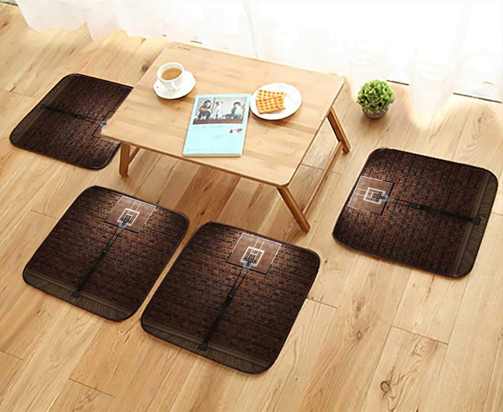 Printsonne Modern Chair Cushions Old Brick Wall and Basketball Hoop Rim Indoor Training Exercising Stadium Convenient Safety and Hygiene W23.5 x L23.5/4PCS Set