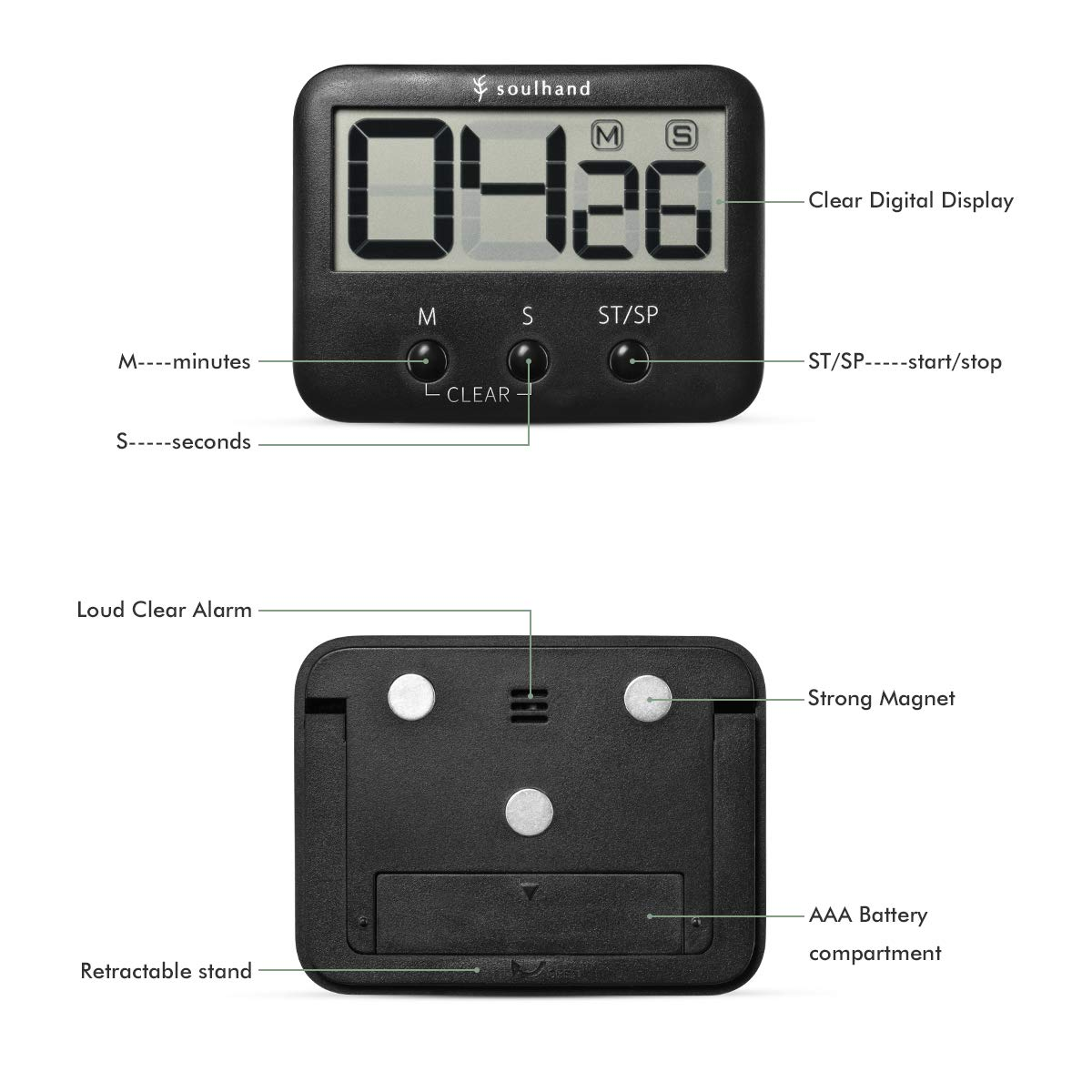 Big Digits Loud Alarm magnetic Backing Stand With Large LCD Screen For Cooking Baking Sports Game Office Soulhand Digital Kitchen Timer,Cooking Timer Black