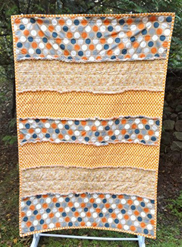 Handmade Cotton Rag Toddler Bed or Lap Quilt, Riley Blake Super Star Fabrics in Navy and Orange - - Rag Fabric Quilt