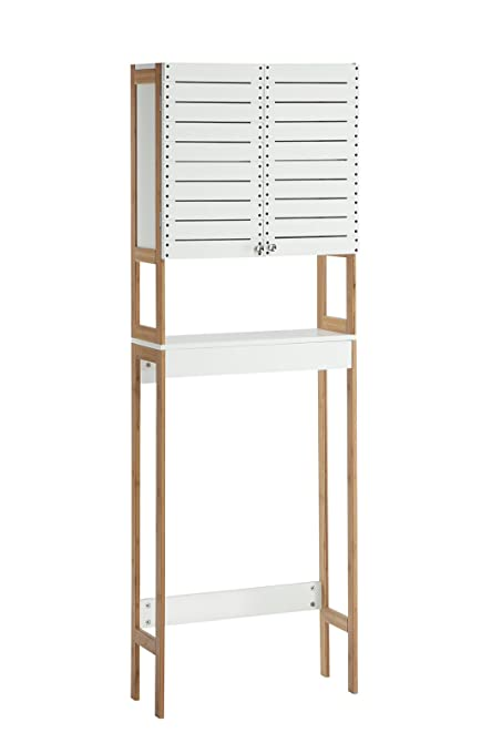 Organize It All Natural Bamboo Over The Toilet Bathroom Storage Space Saver  Cabinet With Mounts