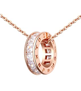 f22758036e45 Circle Pendant Necklace with White Zirconia Austrian Crystals 18 ct Rose  Gold Plated for Women 18