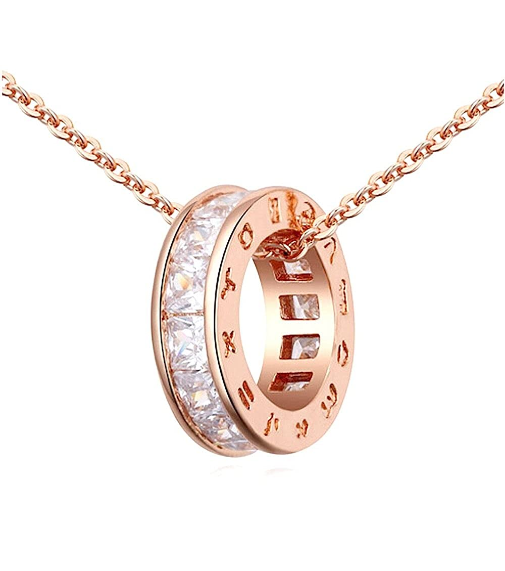 Circle Pendant Necklace with White Zirconia Austrian Crystals 18 ct Rose Gold Plated for Women 18 Crystalline CA-AZ-CR-0097
