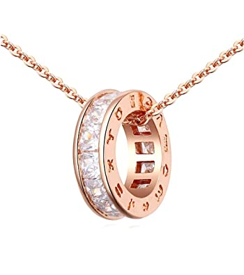Circle Pendant Necklace with White Zirconia Austrian Crystals 18 ct Rose Gold Plated for Women 18 iR8fsSmes