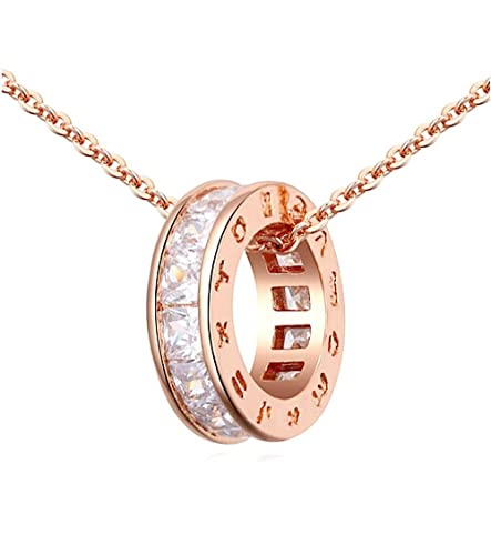 Rund Schwarz /Österreichische Zirkonia Kristalle Schmuck-Set Halskette Anh/änger 45 cm Ohrringe Armband 18 kt Wei/ß Vergoldet f/ür Damen