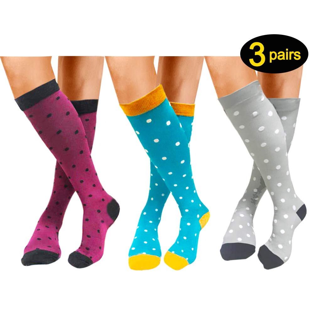 Compression Socks 3 Pairs For Women Men 20-25mmHg-Best Medical, Nursing, Travel & Flight Socks - Running & Fitness Compression Stockings (S/M, Dot Family)