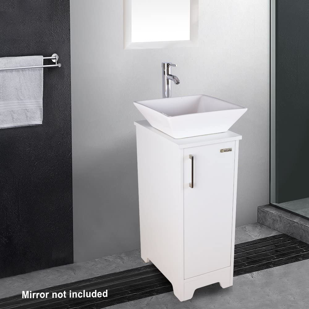 White Round Sink eclife 13 Bathroom Vanity Sink Combo White Small Cabinet W//White Ceramic Vessel Sink /& 1.5 GPM Water Save Faucet /& Solid Brass Pop Up Drain