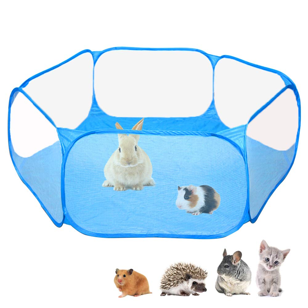 Amakunft Small Animals C&C Cage Tent, Breathable & Transparent Pet Playpen Pop Open Outdoor/Indoor Exercise Fence, Portable Yard Fence for Guinea Pig, Rabbits, Hamster, Chinchillas and Hedgehogs by Amakunft
