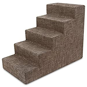 USA Made Pet Steps/Stairs with CertiPUR-US Certified Foam for Dogs & Cats by Best Pet Supplies – Brown Linen, 5-Step (H: 22.5″)