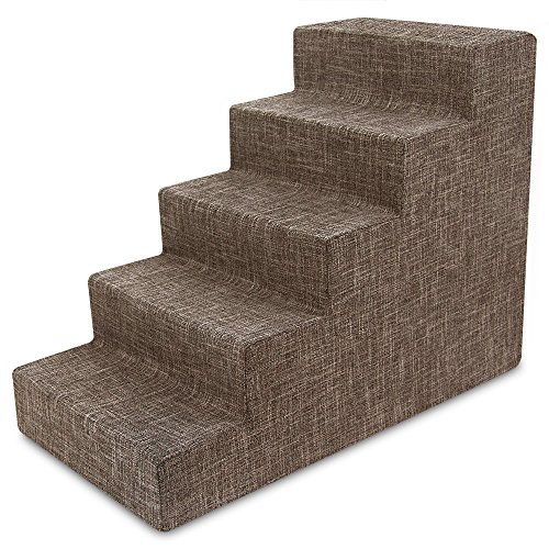 "USA Made Pet Steps/Stairs with CertiPUR-US Certified Foam for Dogs & Cats by Best Pet Supplies - Brown Linen, 5-Step (H: 22.5"") from Best Pet Supplies, Inc."