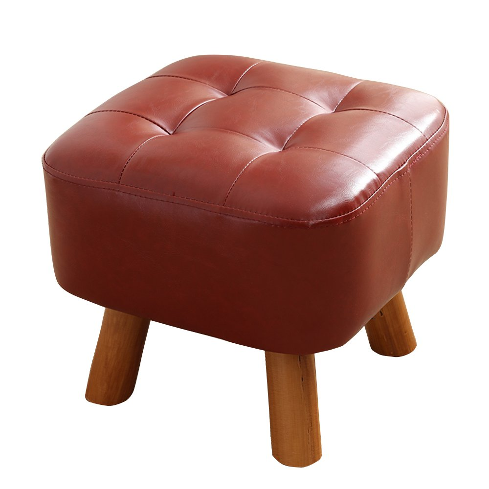Solid wood sofa stool/Creative dressing stool/low stool/Multifunctional footstool/Imitation leather shoes bench/Stylish stool/Coffee Table Stool/Bed stool 353534cm (Color : C)