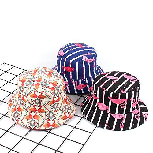 Tonpot Chapeau de Seau Imprim/é Flamingo Animal Chapeau de P/êcheur Pliable Casquettes de Plat Loisirs pour en Plein Air d/Ét/é Gris