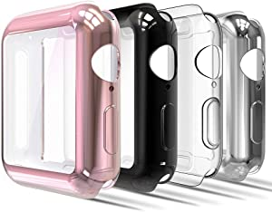 Simpeak Soft Screen Protector Bumper Case Compatible with Apple Watch 40mm Series 4 Series 5 Series 6 / SE, 4 Pack, Full Coverage Case Replacement for iWatch 40 mm, Clear,Black,Rose Gold,Silver