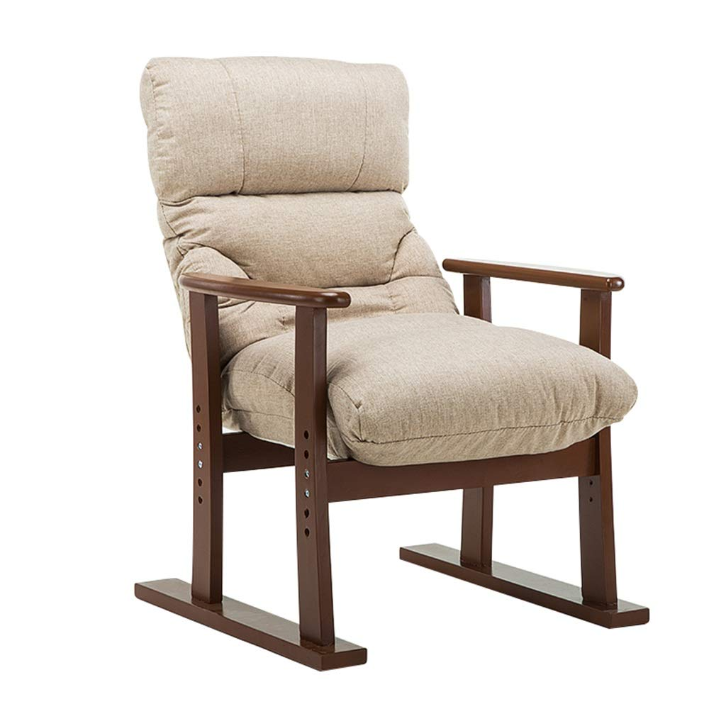CFJRB シングルファッションソファーラウンジチェアの角度は、居間、寝室の調節可能 (色 : ベージュ) B07MM9494G ベージュ