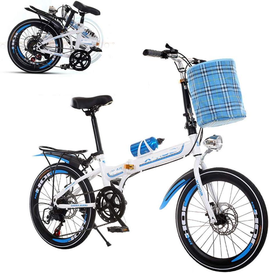 SUIBIAN Bicicleta Plegable para Adultos, Bicicleta Ajustable de 26 Pulgadas y 6 velocidades, Bicicleta con Amortiguador de Frenos de Doble Disco, Adecuada para niños y niñas (incluidos Regalos)