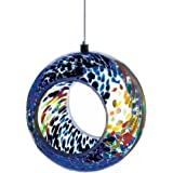 Stained Glass Bird Feeder, Round Colorful Mosaic Small Glass Bird Feeder Hanging