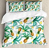 Hawaii Bedding Sets, Botany Inspired Traditional Luau Party Funky Polynesian Culture, 4 Piece Duvet Cover Set Quilt Bedspread for Childrens/Kids/Teens/Adults, Jade Green Marigold Ginger,Twin Size