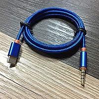 Moorecastle USB Tipo C a 3.5mm Adaptador de Audio Auxiliar Jack USB C Macho a 3.5mm Cable Macho Azul