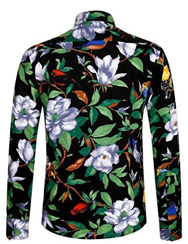Aptro Fleurs Manches Classique En À Homme Ajustée Coton Luxueuse 1006 Green Mode Pur Chemise Longues xqqrawBf