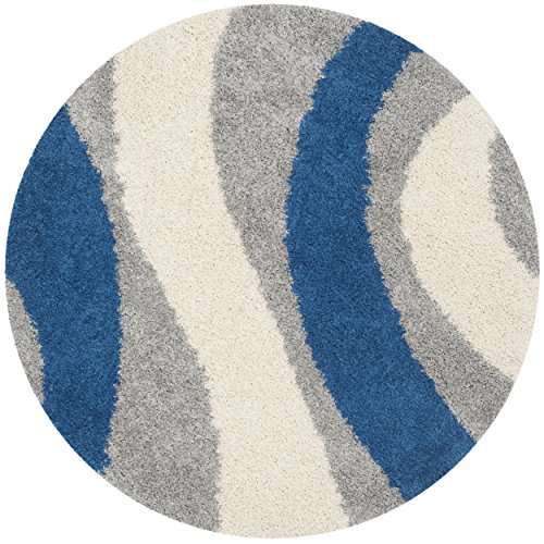 Safavieh Art Shag Collection SG914 Grey and Blue Round Area Rug, 5-Feet