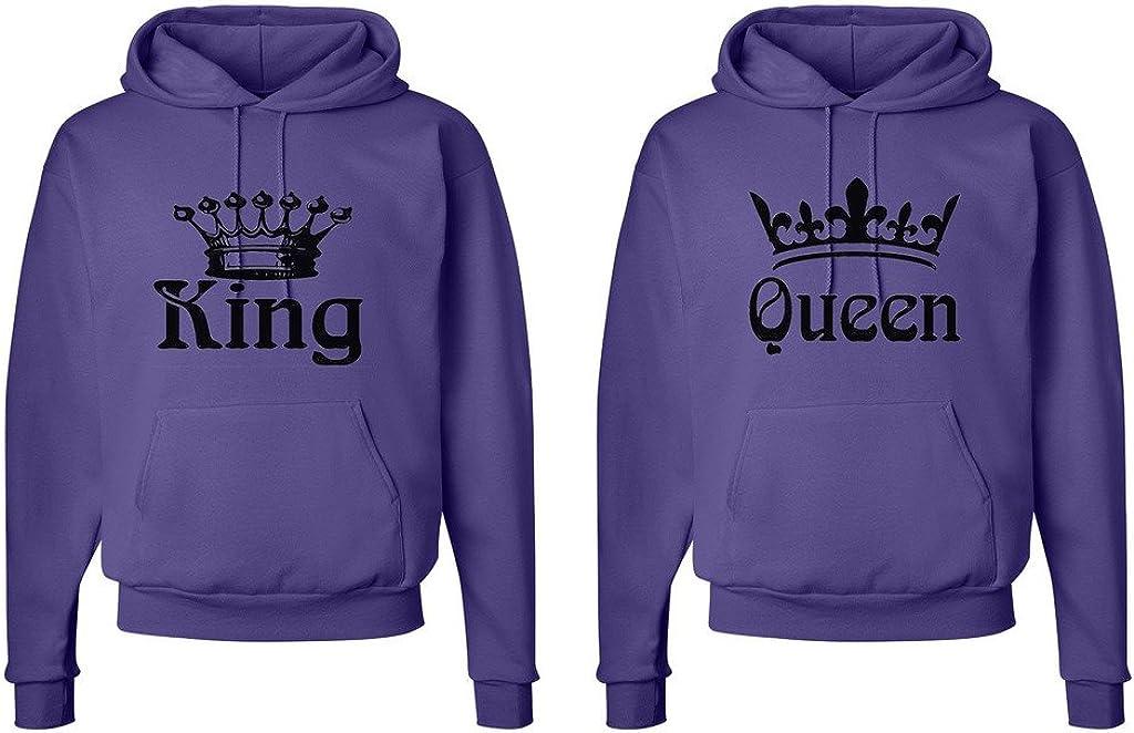 King and Queen Crowns Fasciino Matching His /& Hers Couple Hooded Sweatshirt Set King Shirt: XLarge//Queen Shirt: Medium Purple