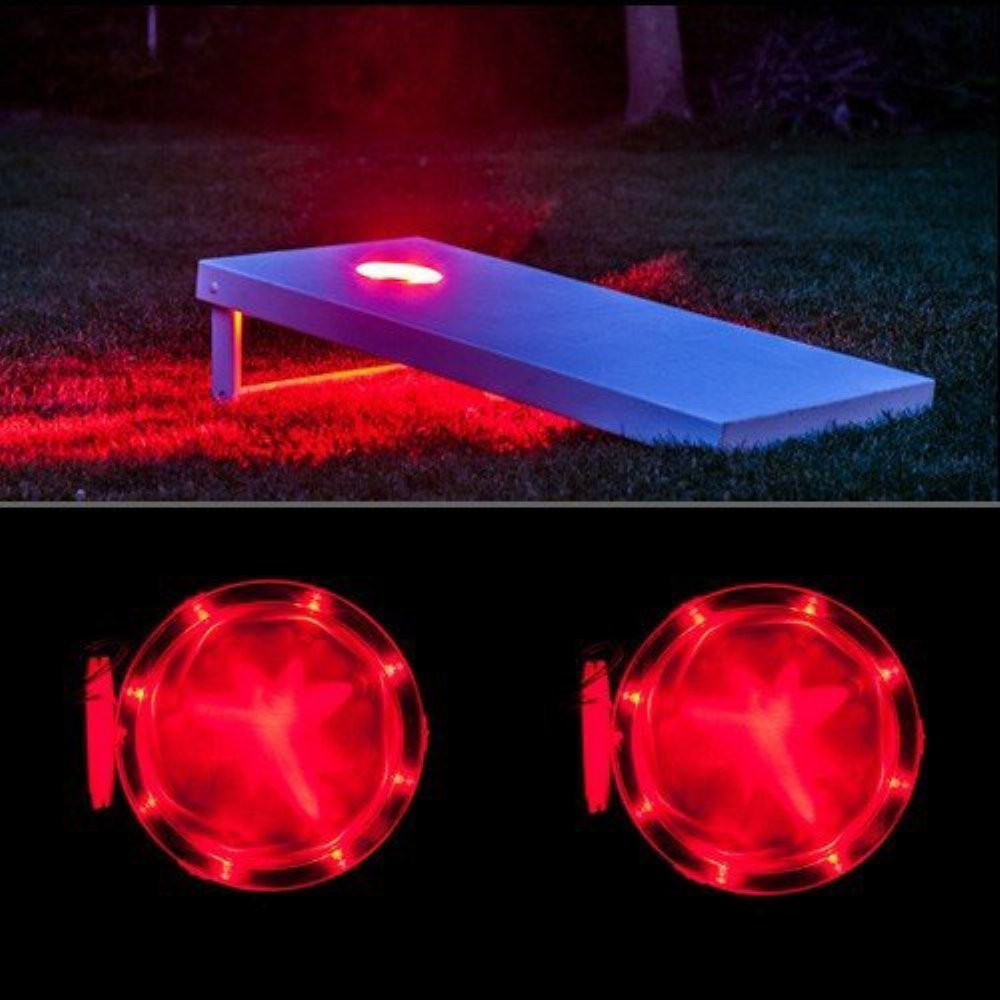 Cornhole Light Set of 2, 6'' Corn Hole Board Lamp with 10 Super Bright LED Lights Includes Screws - Easy Mounting in Minutes, Allow You to Play Your Bean Bag Toss Game for Hours After Dark! (Red)