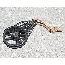 Black Metal Vintage Style Rustic Rust Industrial Wench Steampunk Steam Punk Pulley Wheel Hook Hoist with Rope
