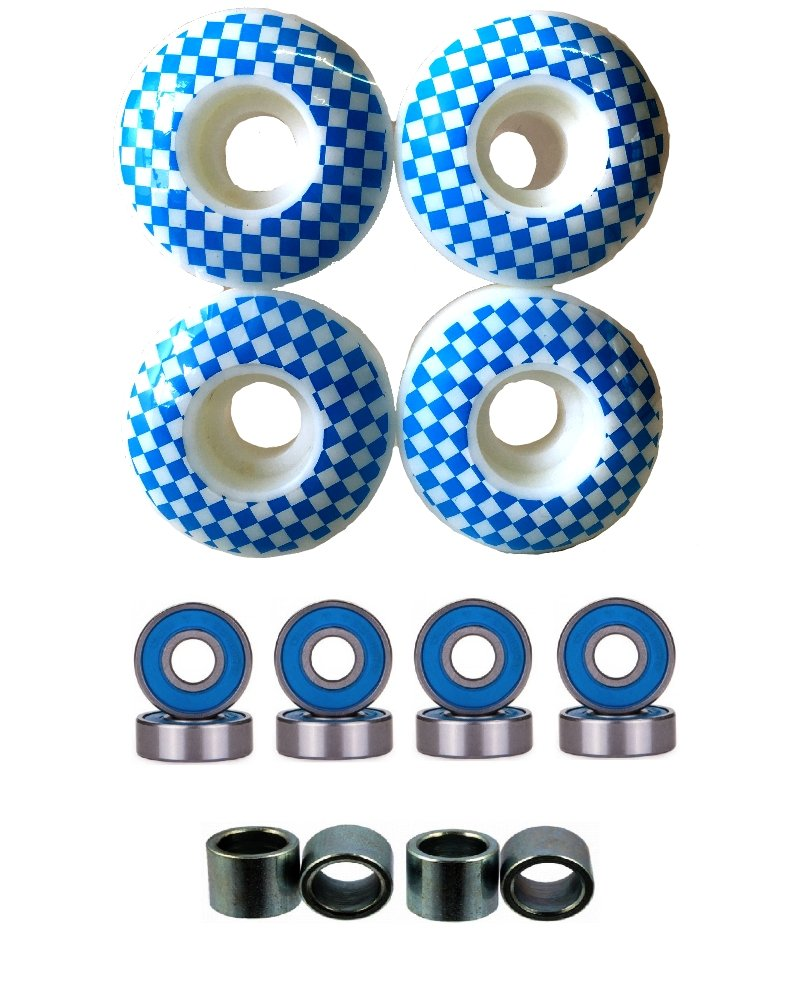 Everland 52mm Wheels w/Bearings & Spacers (White Blue Checker) by Everland
