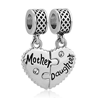 a235a5a0a Amazon.com: LovelyJewelry Mother Daughter Dangle Charm Bead For Snake Chain  Bracelet: Jewelry