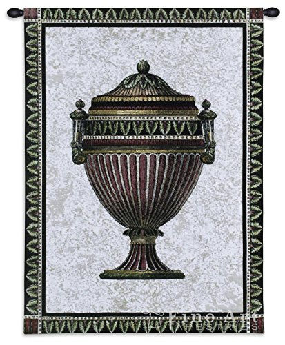 Fine Art Tapestries Empire Urn I Hand Finished European Style Jacquard Woven Wall Tapestry USA 34X27