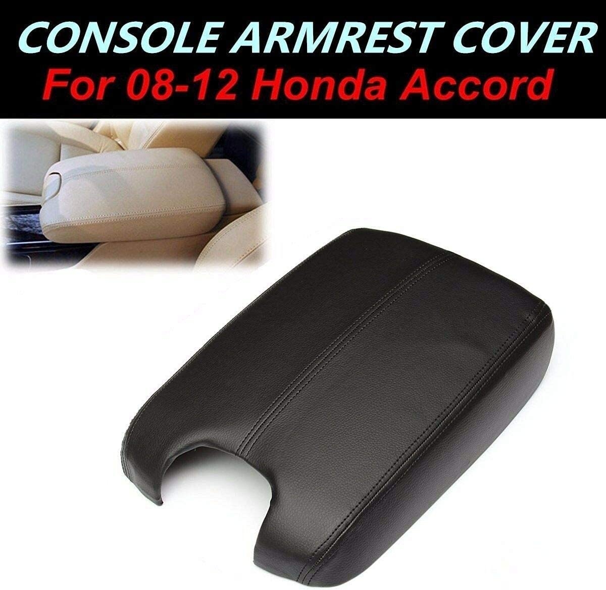 NEW PU Leather Armrest Center Console Lid Cover Black For Honda Accord 2008-2012