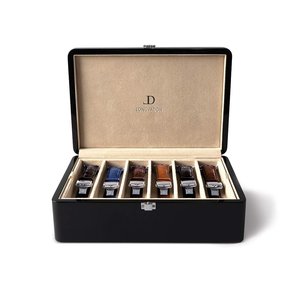 Longvadon - Wooden Collector's Box, Holds 12 Watch Bands, Fits All Apple Watch Band Sizes, Piano Black