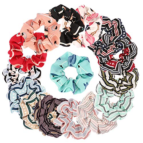 TOBATOBA 15 Pieces Womens Flower Chiffon Hair Scrunchies Hair Elastic Ties Hair Bands Scrunchy Ponytail Holder for Women Girls,15 Colors