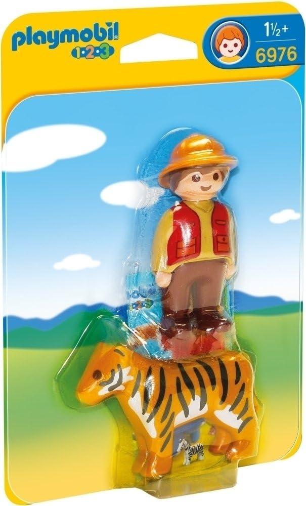 PLAYMOBIL 1.2.3- Gamekeeper with Tiger Figura con Accesorios, Multicolor (6976)