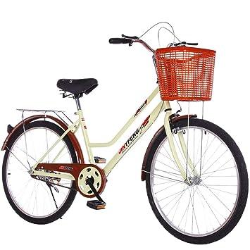 MLSH Bicicleta Vintage for Mujer, Bicicleta Ity Comfort con Cesta ...