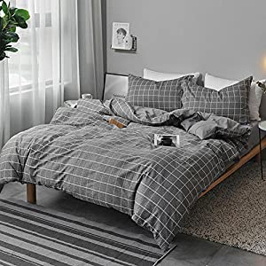 NANKO Queen Duvet Cover Set Gray, 3 Pieces 1200 TC Luxury Hypoallergenic Microfiber Down Comforter Quilt Bedding Cover with Zipper Closure, Ties - Best Organic Modern Style for Men and Women, Plaid