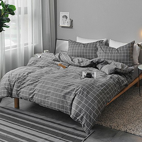 NANKO Queen Duvet Cover Set Gray, 3 Pieces 1200 TC Luxury Hypoallergenic Microfiber Down Comforter Quilt Bedding Cover with Zipper Closure, Ties - Best Organic Modern Style for Men and Women, Plaid (Queen Double Sham)