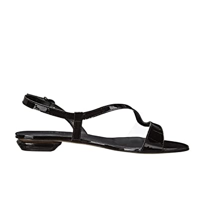 Womens Sandals Vaneli Berta Black Mag Patent/Clear Soft Vinyl/Gunmetal Buckle