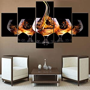 Canvas Prints Wall Art Whisky Wine Pour into Wine Glass Pictures Multi Panel Modern Paintings for Living Room Premium Quality Artwork House Decor Framed Ready to Hang Posters and Prints(60''Wx32''H)