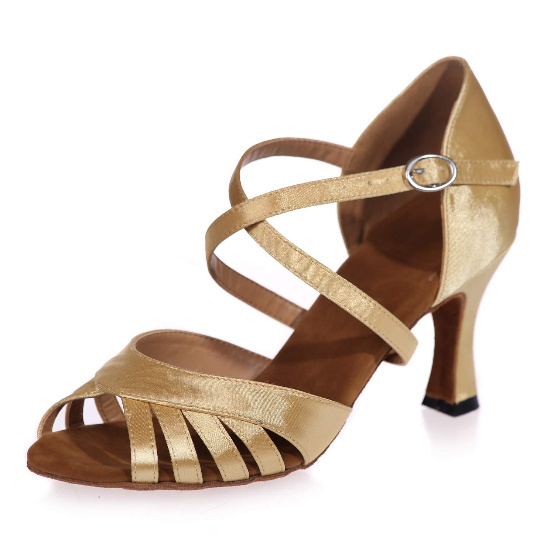 Or Femmes Chaussure de Latine Danse Salle de Bal Bout Ouvert Daim Boucle Croisée Tango Valse Samba Salsa Professionnel 7.5CM