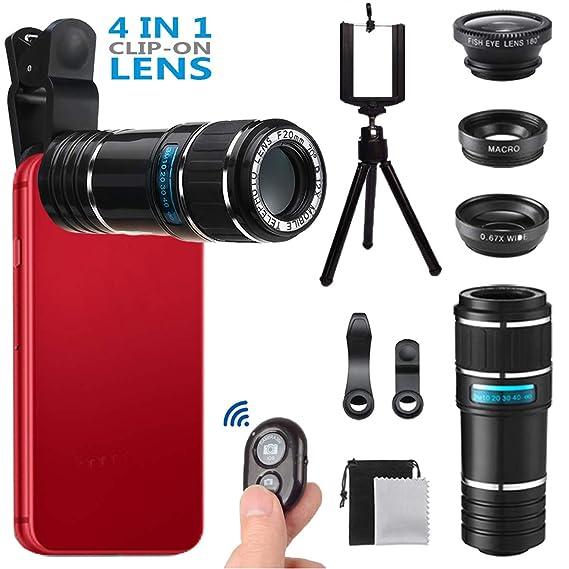 1f54f856ddb3ab Phone Camera Lens for Iphone , MSDADA Telephoto Lens Kit, 12X Optical  Telescope, Fisheye
