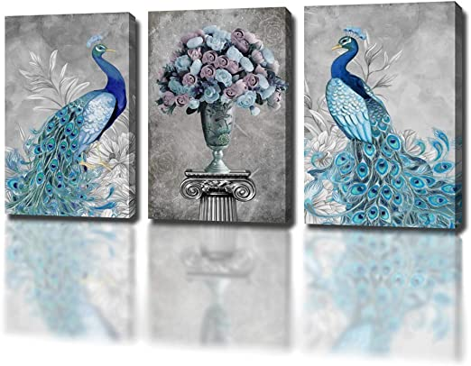 Peacock Feathers Green Modern Gift Animals SINGLE CANVAS WALL ART Picture Print