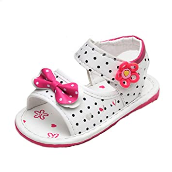 0dc2433b1 Image Unavailable. Image not available for. Color  Soft Sole Toddler Baby  Girls Princess Polka Dot Bow Love Sandals ...