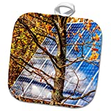 3dRose Alexis Photo-Art - Objects - Blue solar power panel in the autumn forest. Photosynthesis - 8x8 Potholder (phl_270321_1)