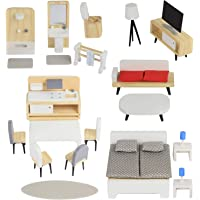 Pidoko Kids Wooden Dollhouse Furniture - DIY Accessories (30 Pcs) - Kitchen, Bathroom, Living Room, Bedroom
