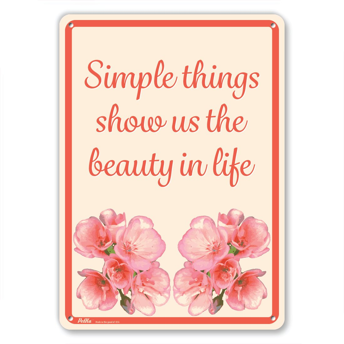 Pink Flowers on Yellow PetKa Signs and Graphics PKFW-0088-NA/_10x14Simple things show us the beauty in life Aluminum Sign 10 x 14