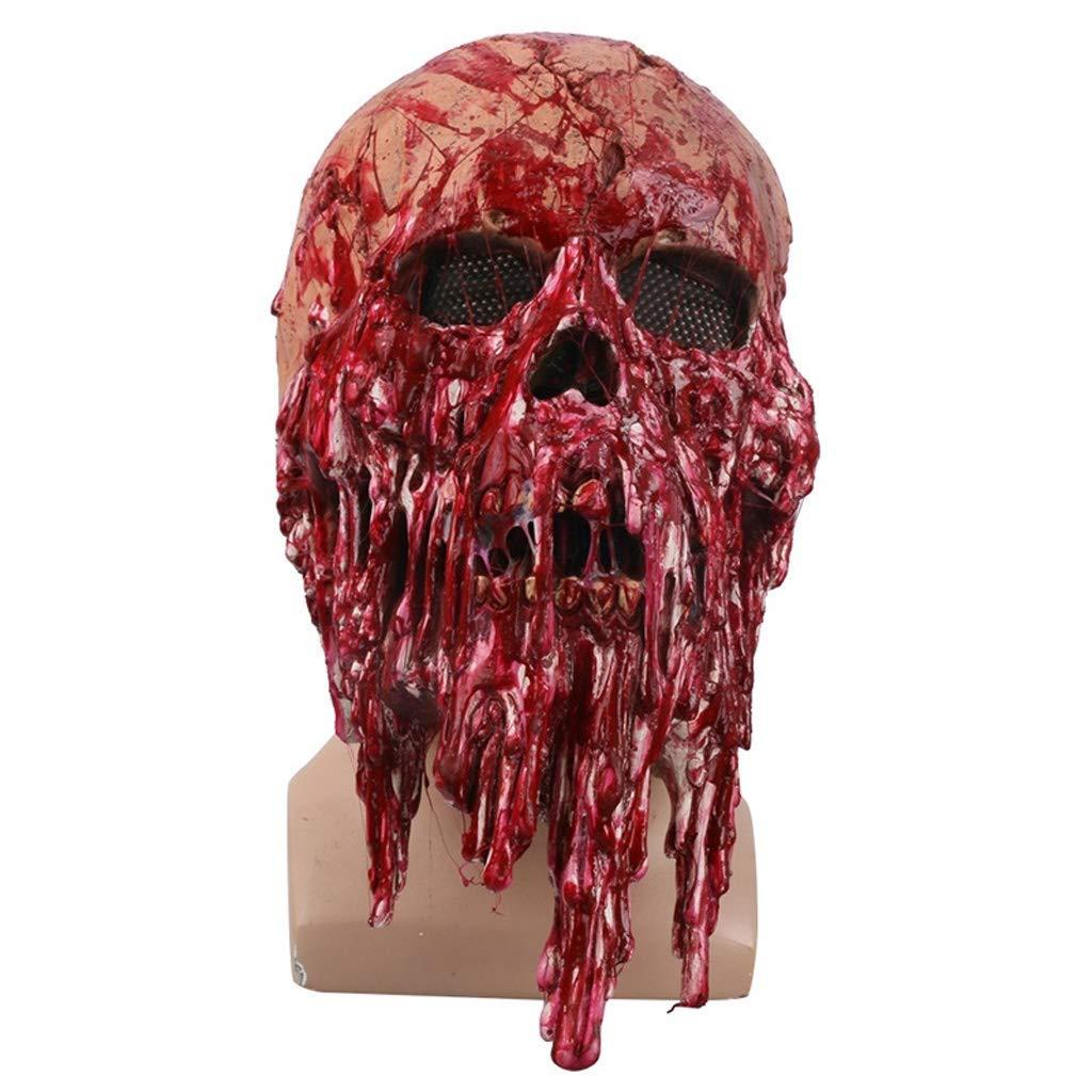 BESTHOO Mask Grimace Bleeding Headgear Latex Terrorist Mask Masquerade Funny Show Halloween Props (color   , Size   )