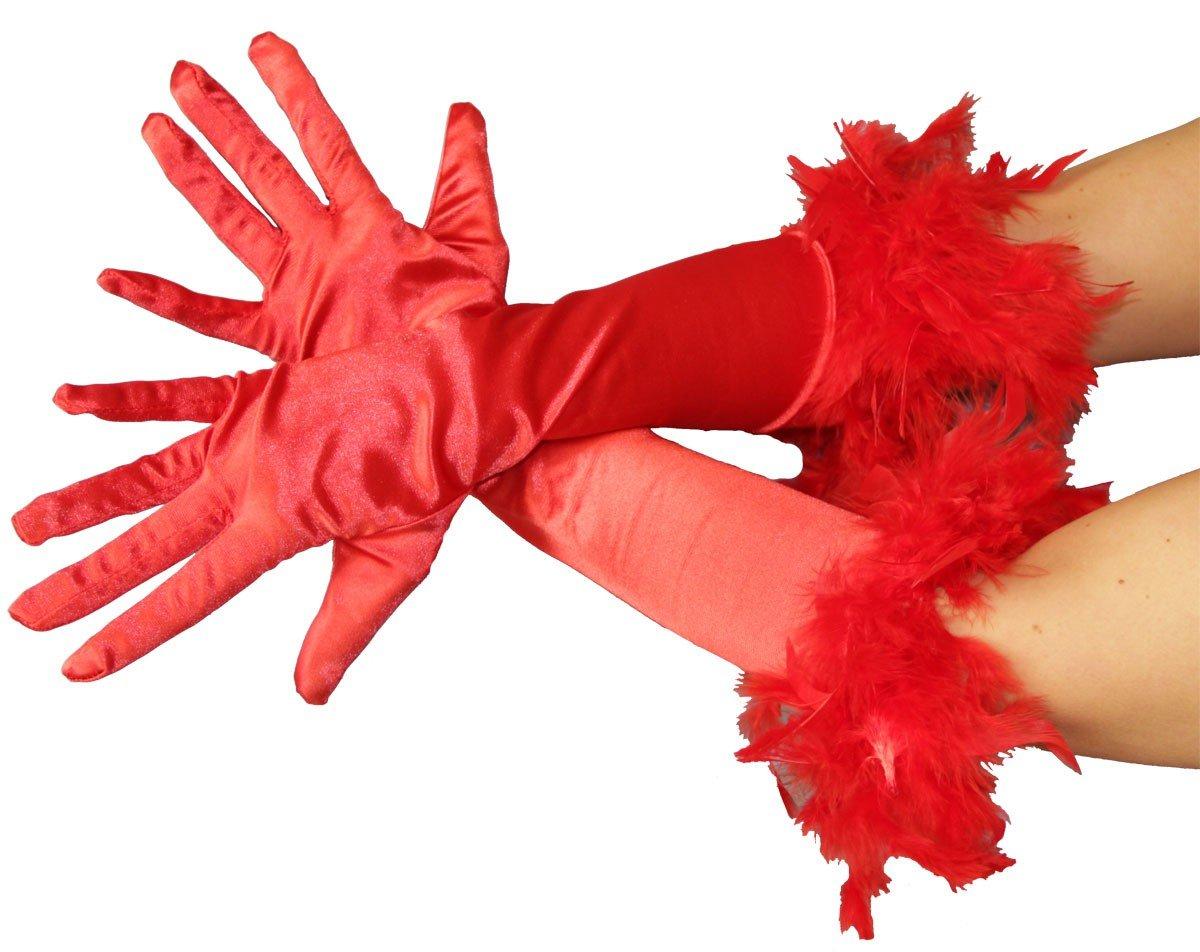 Foxxeo FO1030x Guanti da donna in piuma nei colori rosa Guanti da donna piuma rosa guanti 20 anni elegante piume Glamour Mafia Gangster rosso nero e bianco