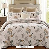 FADFAY Queen Size Birds And Flowers Comforter Sets European Rustic Patchwork Quilts Girls Summer Floral Coverlets Cotton Quilted Bedspread 3Pcs