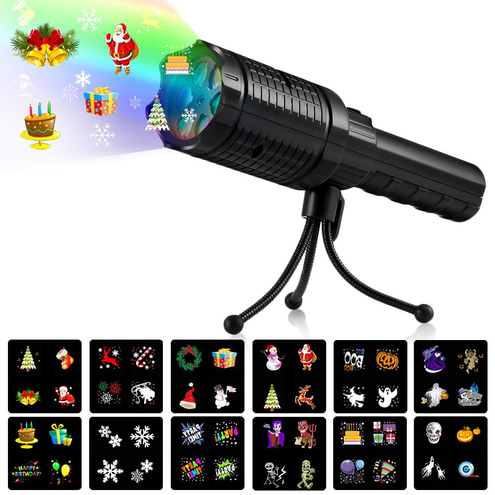 Handheld Projector Flashlight for Kids LightMe Portable LED Projector Light Battery Operated 12 Pattern Slides Projection Holiday Lights with Tripod for Xmas Home Party Birthday Decoration