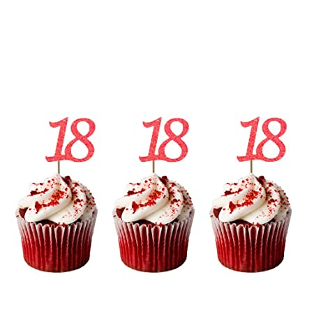 Enjoyable Number 18 Cupcake Toppers Pack Of 10 18Th Birthday Cake Toppers Funny Birthday Cards Online Inifodamsfinfo